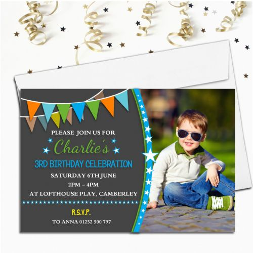 Personalised Boys Stars & Bunting Birthday Party PHOTO Invitations N212